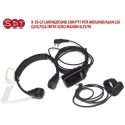 X-19-G7 LARINGOFONO CON PTT PER MIDLAND/ALAN G9/G8/G7/G6 INTEK 5050 MAXON SL25/55