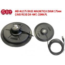 MB-MJ175 BASE MAGNETICA DIAM 175mm, CAVO RG58 DA 4MT, CONN.PL
