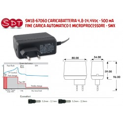 SW18-67060 CARICABATTERIA 4,8-14,4Vdc - 500 mA - FINE CARICA AUTOMATICO E MICROPROCESSORE - SWX