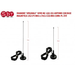 "DIAMOND ""ORIGINALE"" SERIE MC-100-201 ANTENNE CON BASE MAGNETICA 136/174 MHz o 340 a 520 MHz CONN. PL-259"