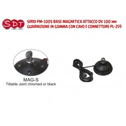 SIRIO PM-100S BASE MAGNETICA ATTACCO DV 100 mm GUARNIZIONE IN GOMMA CON CAVO E CONNETTORE PL-259
