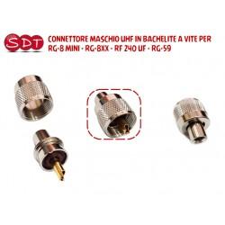 CONNETTORE MASCHIO UHF IN BACHELITE A VITE PER RG-8 MINI - RG-8XX - RF 240 UF - RG-59