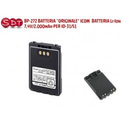 "BP-272 BATTERIA ""ORIGINALE"" ICOM  BATTERIA Li-Ion 7,4V/2.000mAh PER ID-31, ID-51, IP-100H, IC-705"