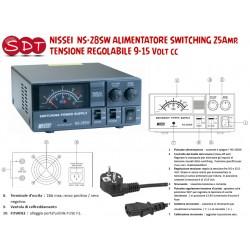 NISSEI  NS-28SW ALIMENTATORE SWITCHING 25Amp. TENSIONE REGOLABILE 9-15 Volt cc